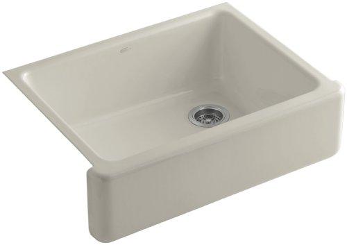 Kohler K-6487-G9 Whitehaven Self-Trimming Apron Front Single Basin Kitchen Sink with Tall Apron, Sandbar ()