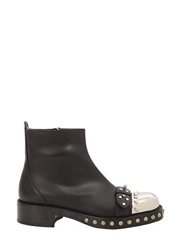Alexander McQueen Women's 534159Whpp01000 Black Leather Ankle Boots