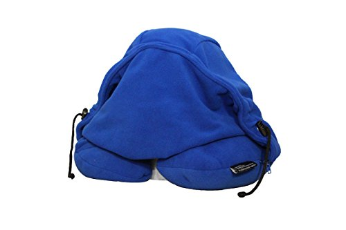 Lights Out - 1st Block Out The World Travel Pillow - (Blue) with Hoodie, Germ Shield and Contour Neck Support. Perfect Travel Pillow for Sleeping in Car, Air, Bus, Train and for Every College Student