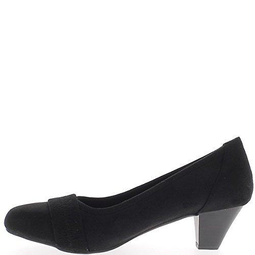 Zapatos retro de gran tamaño negro 5.5cm pequeño talón y reborde decorativo ante mirada