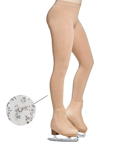 DANCEYOU Figure Skating Tights Over The Boot Footed with Crystals Light Tan 90 Denier for Girls Women
