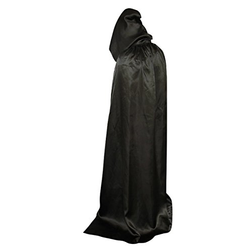 [Long Hooded Cape Cosplay Costume Black Cloak Cope Robe for Halloween Stage Show] (Man Of The Nights Watch Costume)