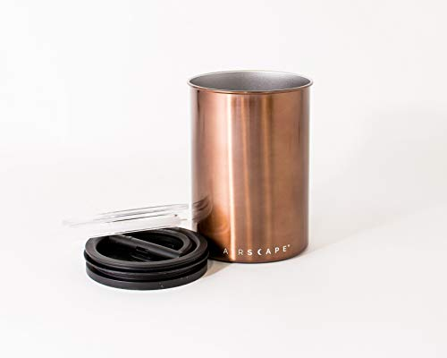 Airscape Coffee Storage Canister (1 lb Dry Beans) - Patented Airtight Lid Pushes Air Out to Preserve Food Freshness - Two Way Valve Releases CO2 - Stainless Steel Food Container - Mocha Brown