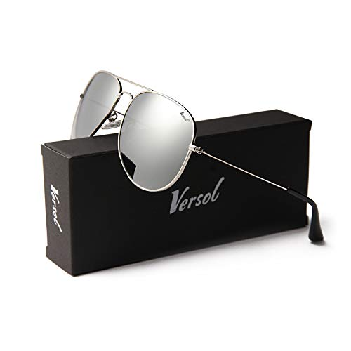 Versol Aviator Sunglasses for Men Women Polarized Metal Frame and UV 400 Protection 60mm - Premium Classic Style (Grey Mirror Lens + Silver), ()