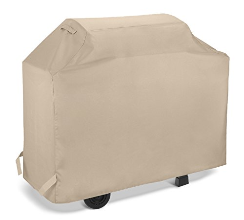 SunPatio Gas Grill Cover 70 Inch, Waterproof Heavy Duty Barbecue Grilling Cover, Durable Charcoal Smoker Cover, All Weather Protection for Weber Char-Broil Nexgrill Grills and More, Beige (Gas Charcoal Smoker Grill)