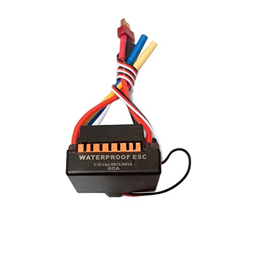 Shaluoman Waterproof 60A Sensorless Brushless Car Electronic Speed Control ESC (Gold)