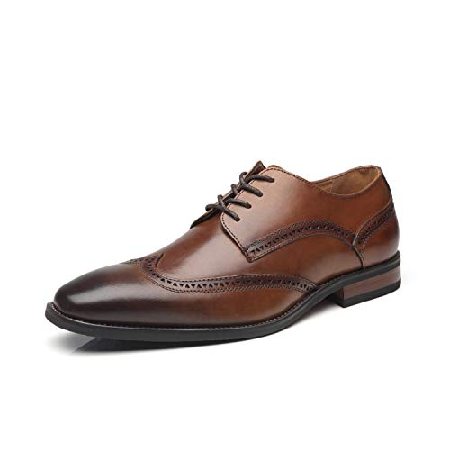 La Milano Mens Dressshoes Leather Oxford Wingtip Lace Up Business Casual Comfortable Dressshoes for Men,12 M US,Brogue-1-whisky