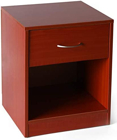 Basicwise Cherry Wooden Nightstand with Drawer and Shelf Storage