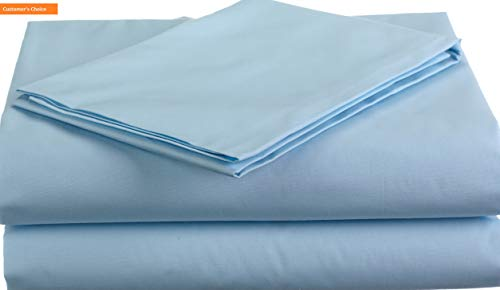 Mikash New Soft 100% Natural Cotton Percale Toddler Bedding Sheet Set, Blue, 3 Piece, Soft Breathable, for Boys and Girls | Style ()