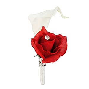 Angel Isabella Build your wedding package-Artificial Flower Bouquet corsage boutonniere rose calla lily Apple Cherry Red wedding theme (Boutonniere-A) 29
