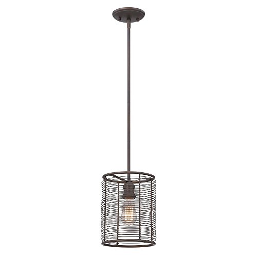 "Eurofase 28062-011 8"" Diameter Terra Industrial Drums Light Pendant with 1 Edison Light Bulb, Small, Weathered Bronze Finish"