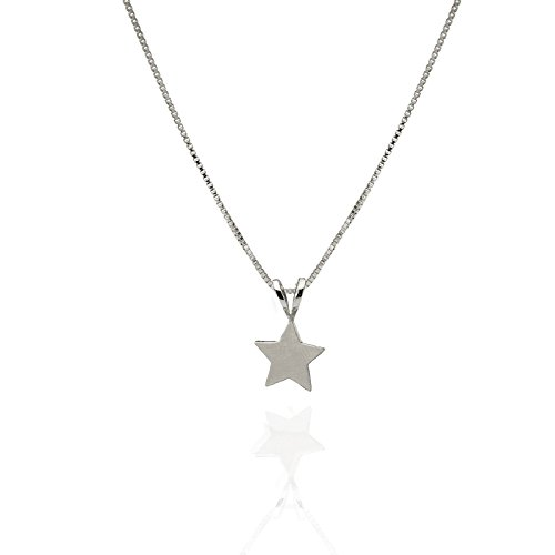 14k 50th Anniversary Charm - 14k White Gold Tiny Star Pendant Necklace Pendant Friendship charm Gift Moon and Star Jewelry