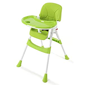 Baby high chair 3 en 1 bébé enfant en bas âge pliable enfants enfants inclinable chaise de siège réglable chaise haute alimentation With tray, seat belt ( Couleur : Vert , Taille : 56*41*127cm ) 4
