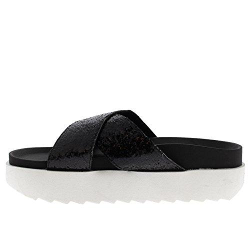 Mujer Zapatos Plataforma Cruzada Verano Resplandecer Moda Negro Correa Sandalias Correa Ponerse PPFrw0x