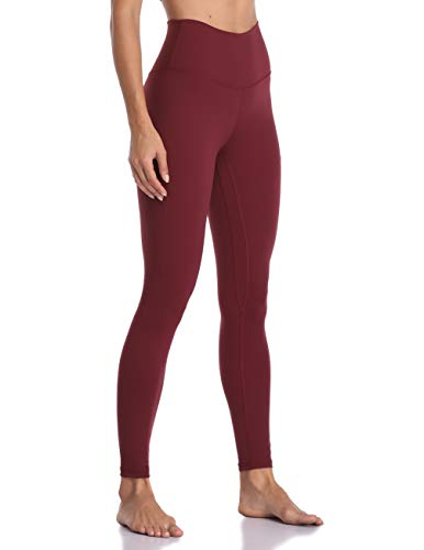 Colorfulkoala Women's Brushed Buttery Soft High Waisted Leggings Full Length Yoga Pants (XL, Wine Red)