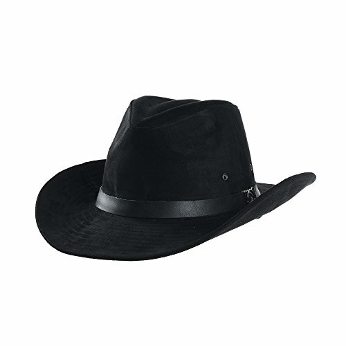 WITHMOONS Suede Indiana Jones Hat Outback Hat Fedora with Cord CD8858 (Black)]()