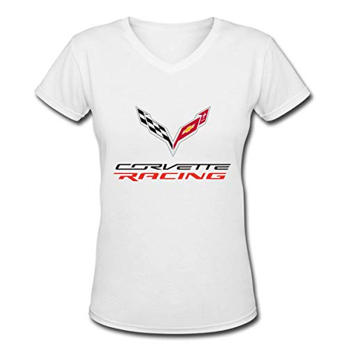 (Trikahan Womens Retro Corvette Apparel Tee Short Sleeve V Neck Sports Tops for Women Youth Girls Vintage Shirts T-Shirt White)