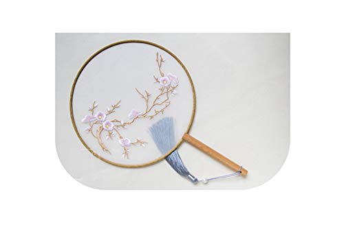 Charming-Rugosa Classical Chinese Round Dance Fan Mulberry Silk Decorative Craft Fan Single - Side Embroidery Wooden Handle Fan Gift,Style1,Diameter 20Cm