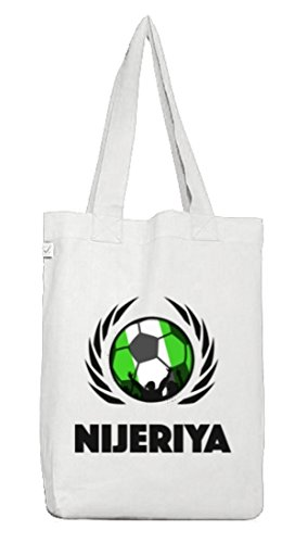 ShirtStreet Nijeriya Fussball WM Fanfest Gruppen Jutebeutel Stoffbeutel Earth Positive Fußball Nigeria White