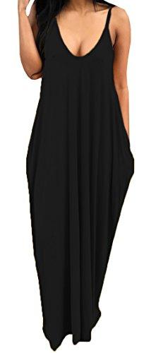 Bigyonger Women 's Loose Low V Neckline Spaghetti Straps Maxi Dress Beach Wear,Black,X-Large - Boho Long Maxi Dress