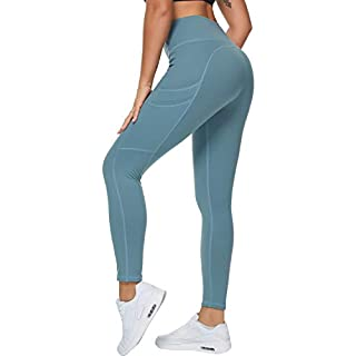 Loovoo High Waist Yoga Pants with Pockets Tummy Control 4 Ways Stretch Ankle Workout Running Sports Yoga Leggings Green L