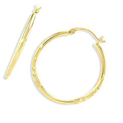 14k Yellow Gold Hoop Earrings Brushed Leaf Round 1.25