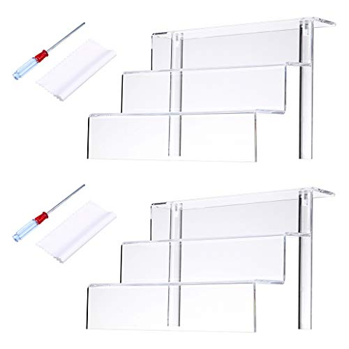 Hipiwe Acrylic Figure Display Stand for Amiibos Funko POP Figures Cupcake Display 3 Tier/Steps Clear Acrylic Riser Shelf for Table Cabinet Countertops,9