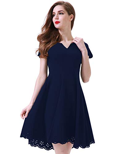 Aphratti Women's Cute Scallop Short Sleeve Casual Skater Dress Cocktail Party XX-Large Navy