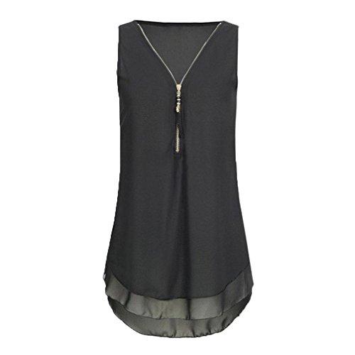 iTLOTL Women Loose Chiffon Sleeveless Tank Top V-Neck Zipper Hem Scoop T Shirts Tops(US:12/CN:XL, Black)