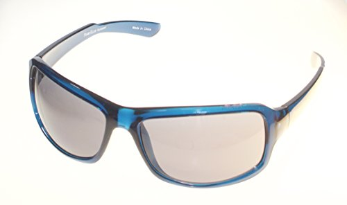 (Perry Ellis Rectangle Mens Crystal Blue Plastic Sunglass, Smoke Lens PE03)