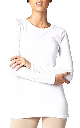 Conceited Women's Layering T-Shirt (Crew Neck - White, Small) (T-shirt Essential Womens Crewneck)