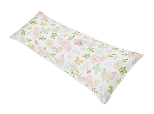 Sweet Jojo Designs Blush Pink, Mint and White Watercolor Rose Body Case Cover for Butterfly Floral Collection (Pillow Not Included)