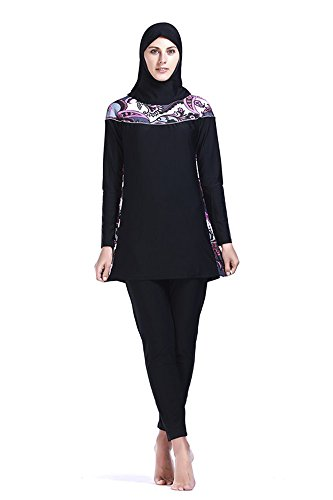 efe8e03941a Women Muslim Swimwear Full Coverage Islamic Modest Swimsuit 3 Pieces Full  Body with Hijab Sun Protection (M, MS09)