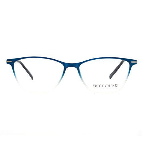 Eyewear Frames-OCCI CHIARI-Rectangle Lightweight Non-Prescription Eyeglasses Frame with Clear Lenses For Womens ()