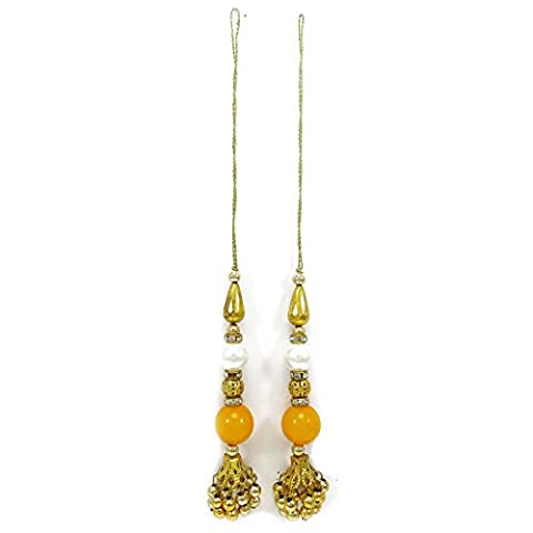 Indian Decorative Accessory Yellow Gold Sari Latkans Sewing Accessories 1 Pair (Indian Gold Ornaments)