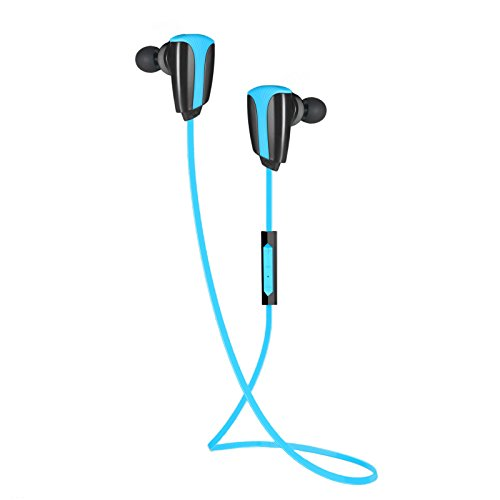 Bluetooth Headset Rymemo Sports Wireless Headphones for Running or Workout, Secure Fit, Sweat-Proof Earphones Earbuds, 3 Sound EQ, Stable Rubber Ear Hook, Blue