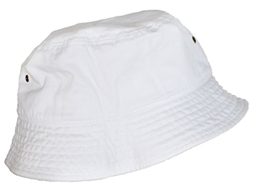 Truman & Sons - Simple Solid Cotton Bucket Hat in White size L/XL (Cotton Solid Cap)