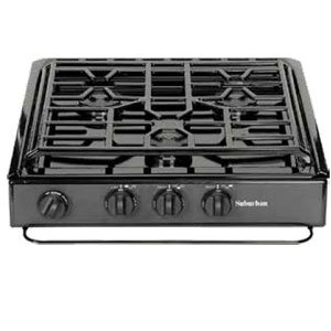 (Suburban 3231A 3 Burner Slide-in Cooktop with Sealed Burner - Black w/Piezo Ignition)