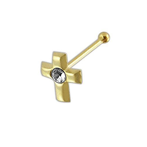 9 Karat Solid Yellow Gold Clear Crystal Stone Cross 22 Gauge Ball End Nose Stud Piercing Jewelry ()