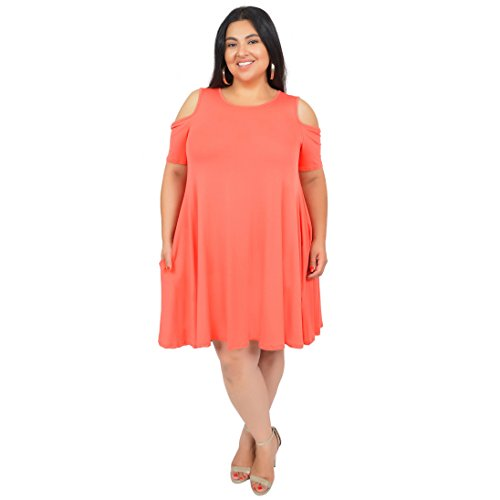 (Stretch is Comfort Women's Plus Size Maggie Open Shoulder Short Sleeve Tank Dress Coral 3X)