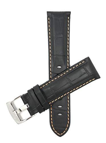 Orange Alligator Strap (Bandini 22mm Black/Orange Stitching Leather Watch Band Strap, Alligator Pattern, Stainless Steel Buckle)