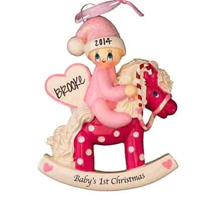 Pink Baby's 1st Christmas Rocking Horse - (Unique Christmas Tree Ornament - Classic Decor for A Holiday Party - Custom Decorations for Family Kids Baby Military Sports Or Pets)