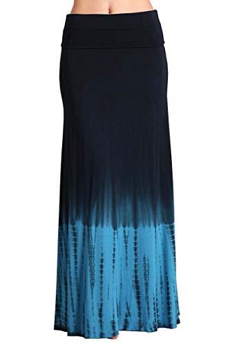 - HEYHUN Plus Size Womens Casual Tie Dye Solid Boho Hippie Long Maxi Skirt - Blue Navy - 1XL