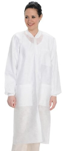 ValuMax 3560WH4XL Easy Breathe Cool and Strong, No-Wrinkle, Professional Disposable SMS Knee Length Lab Coat, White, 4XL, Pack of 10 by Valumax