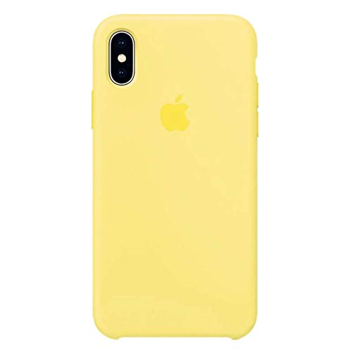TOSHIELD Anti-Drop iPhone X/10 (5.8Inch) Liquid Silicone Gel Case, Soft Microfiber Cloth Lining Cushion for iPhone 10 (Yellow) (Best Apple X Case)