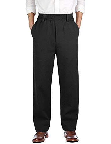 IDEALSANXUN Men's Casual Relaxed Fit Elastic Waist Twill Pant (Black(Twill), 38)
