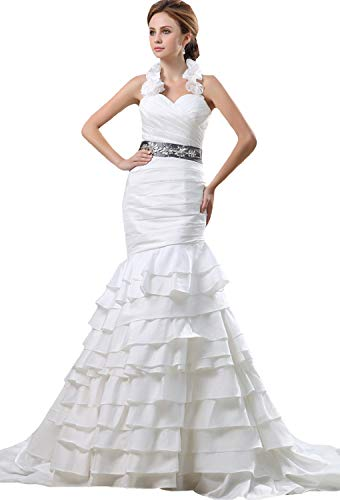 JOYNO BRIDE Ruffle Sweetheart Neck Beading Belt Taffeta Mermaid Wedding Dresses(14,Ivory) Beading Taffeta Wedding Dress