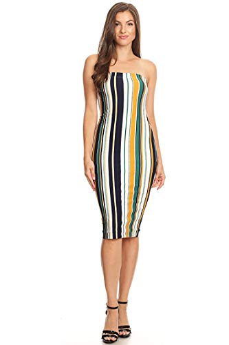 (Lined Tube Top Body-Con Midi Dress/Made in USA Mustard Navy Stripe S)
