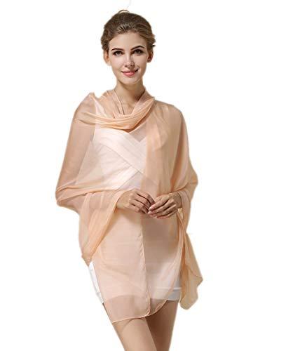 (Women Fashion Silk Scarf Oblong Floral Oversize Soft Shawl Beach Wrap (Light Orange))