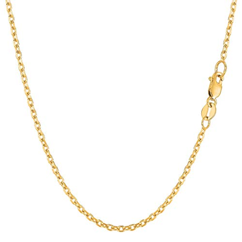 (14K Yellow or White Gold 1.8mm Shiny Diamond Cut Cable Link Chain Necklace for Pendants and Charms with Lobster-Claw Clasp (16
